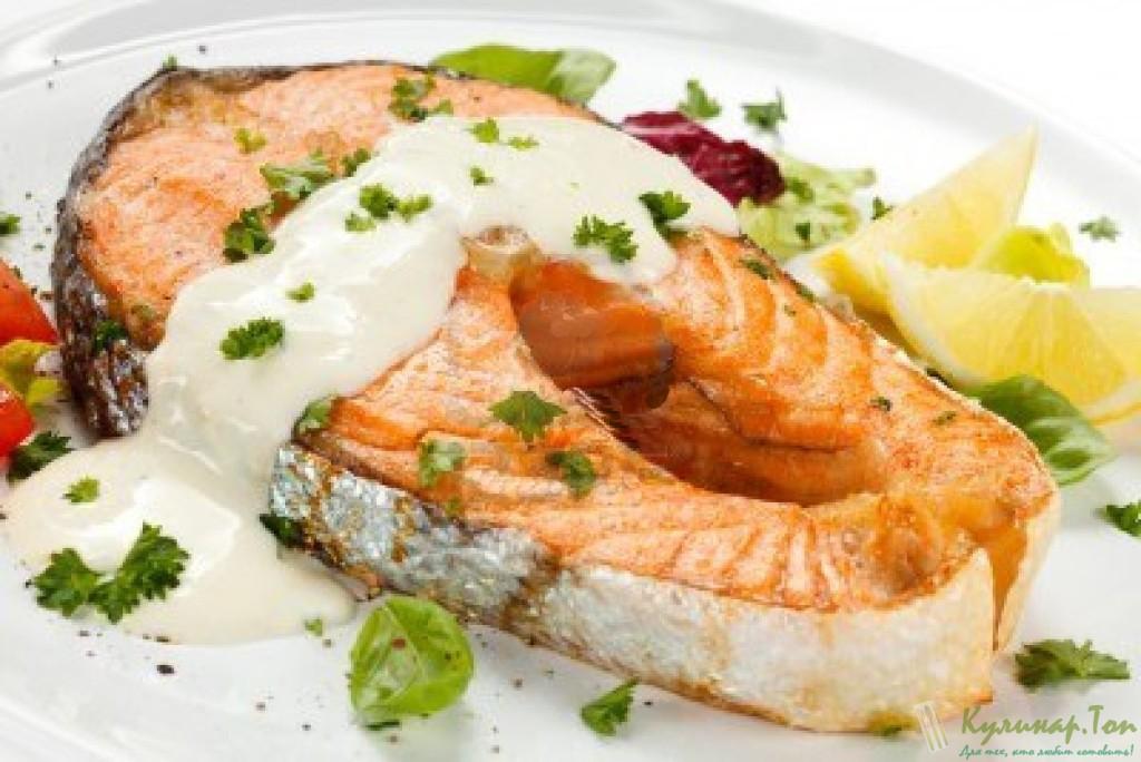 стейк лосося в сливочном соусе в духовке