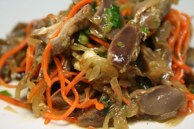 Салаты с куриными желудками по китайски
