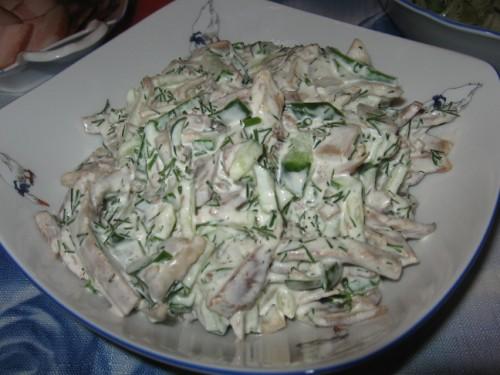 Салаты с языком с солёным огурцом и грибами рецепт
