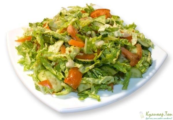 Рецепт салата из капусты помидора и огурца и перца