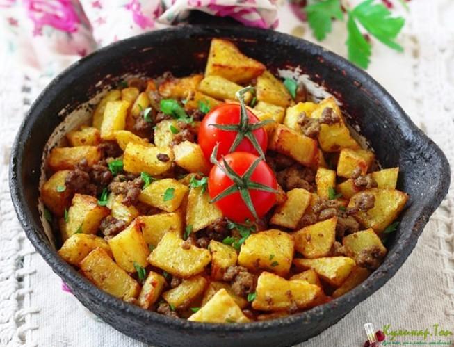 Говядина с картошкой в сковороде рецепт 128