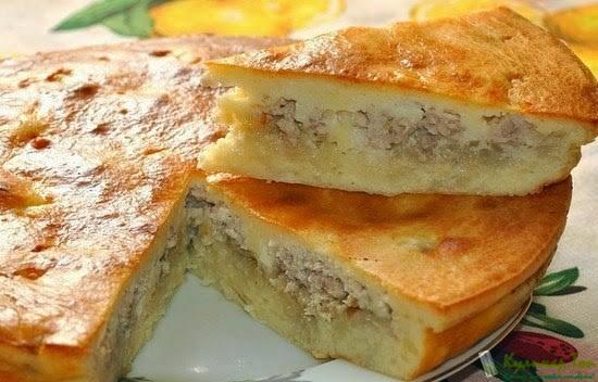 Рецепт пирога заливного на кефире с фаршем и картошкой с фото в