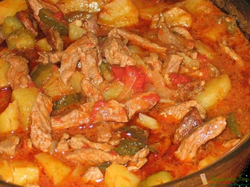 Азу из свинины с солеными огурцами с фото пошагово в