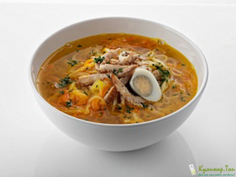 Рецепт яичного супа с лапшой и курицей с фото