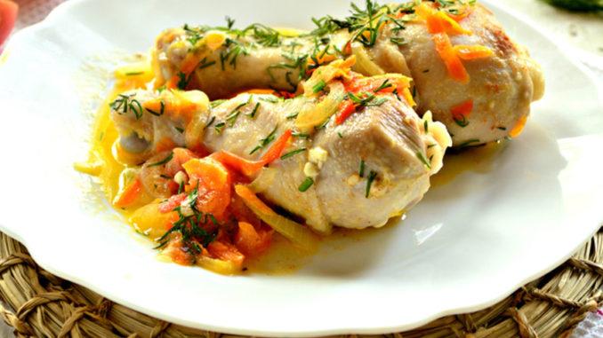 рецепт жареной куриной голени на сковороде фото