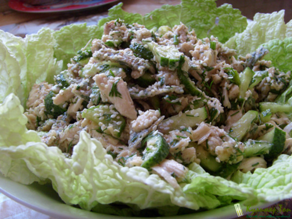 Салаты с курицей и соленым огурцом рецепты