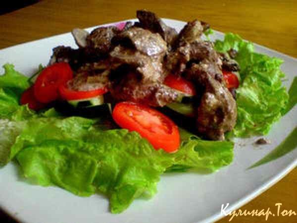 Теплый салат с печенью рецепт с фото