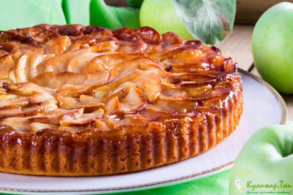 Тонкий пирог с яблоками рецепт с фото