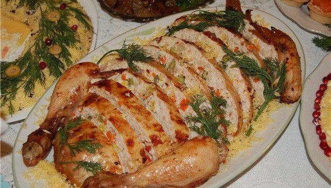 Курица фаршированная мясом в духовке рецепт пошагово