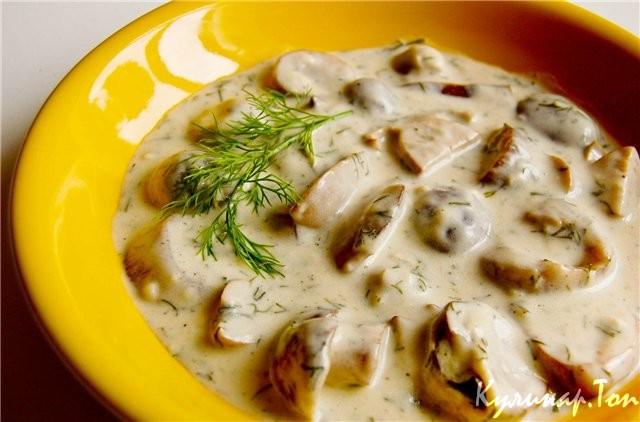грибы тушеные в сливках рецепт с фото