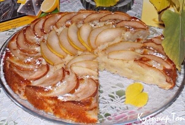 Бисквитный пирог с грушами рецепт с фото