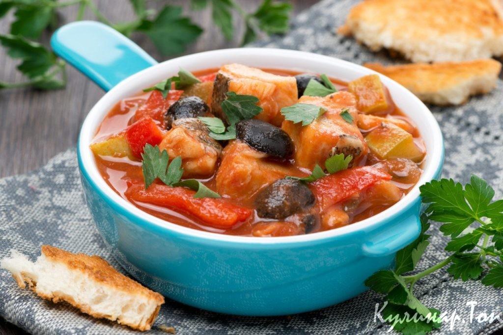 Рецепт рыбы с тушенными овощами