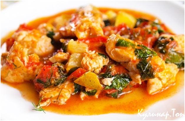 Рецепт тушеная куриная грудка с овощами