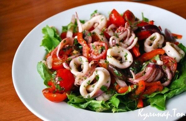 Салат свежих кальмаров рецепт с фото