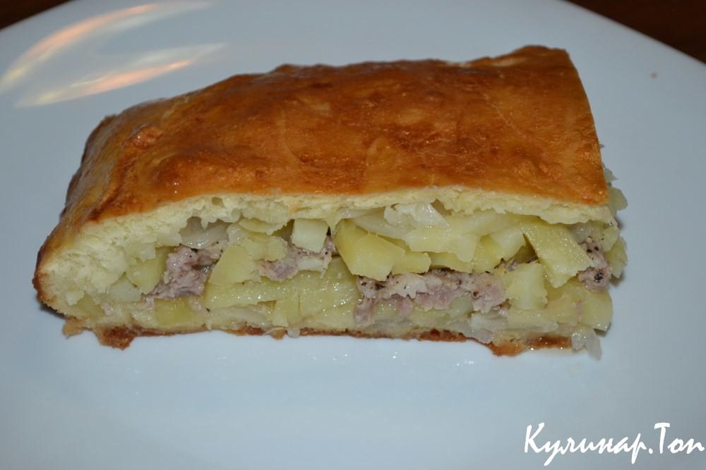 Рецепт «пирог с мясом и картофелем»: в приготовлении теста особых заморочек нет, поэтому этот процесс я не снимала.