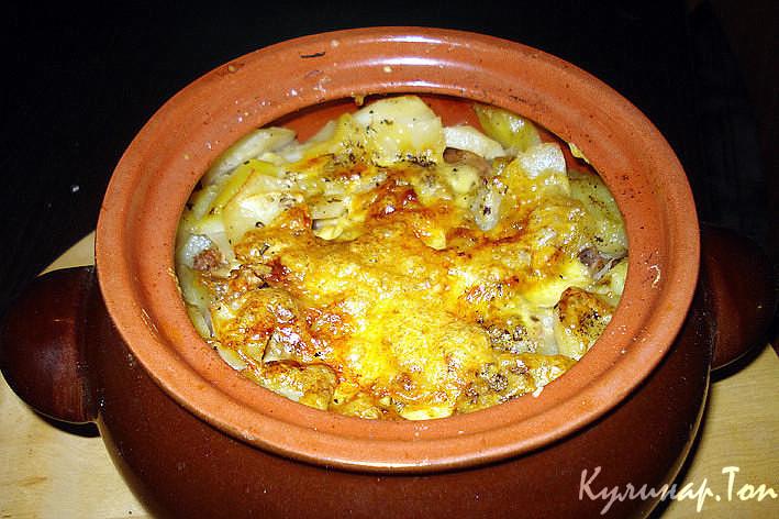 горшочки с курицей и грибами и картошкой рецепт с фото